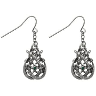 Carolina Glamour Collection Pewter Celtic Dragon Teardrop Knot Dangle Earrings