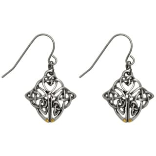Carolina Glamour Collection Pewter Celtic Knot Endurance Medallion Dangle Earrings