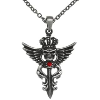 Carolina Glamour Collection Pewter Winged Skull with Crown Pendant Chain Necklace