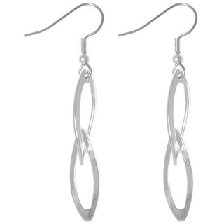 Carolina Glamour Collection Silver Plated Steel Bright Finish Double Oval Dangle Earrings