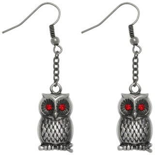 Pewter Barn Owl with Red crystal Eyes Chain Dangle Earrings