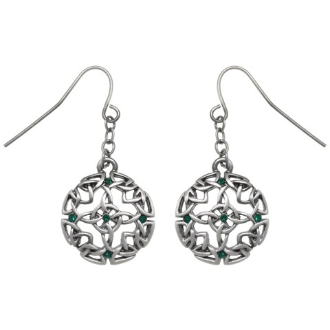 Pewter Celtic Circle Of Life and Good Fortune Dangle Earrings
