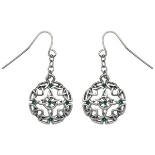 Carolina Glamour Collection Pewter Celtic Circle Of Life and Good Fortune Dangle Earrings