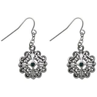 Pewter Celtic Heart Knot Dangle Earrings