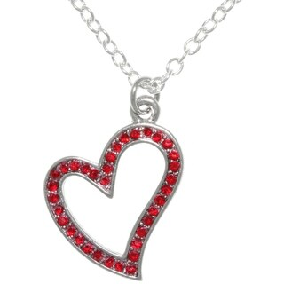 Pewter Heart Pendant with Sparkling Red Crystals 18-inch Chain Necklace
