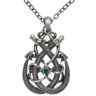 Carolina Glamour Collection Pewter Celtic Dragon Teardrop Knot Pendant Chain Necklace