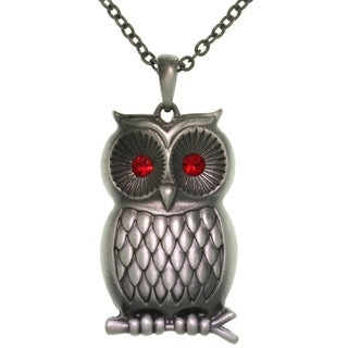 Pewter Barn Owl with Red Crystal Eyes Pendant Chain Necklace