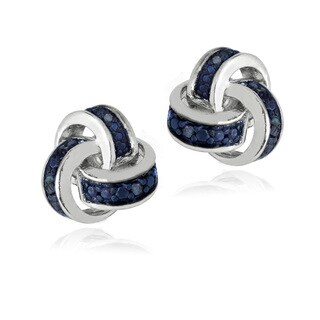 DB Designs Sterling Silver 1/10ct TDW Blue Diamond Love Knot Earrings