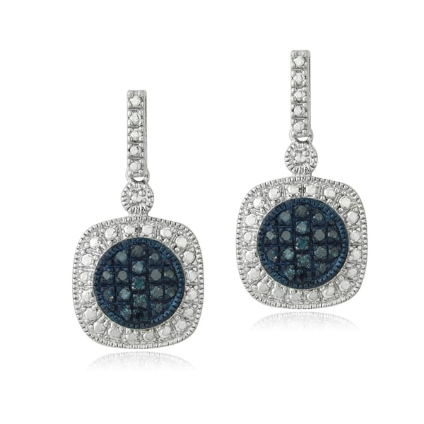 DB Designs Sterling Silver 1/3ct TDW Blue Diamond Square Earrings