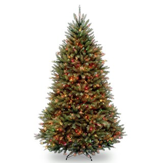 6.5-foot Dunhill Fir Pre-lit or Unlit Artificial Hinged Christmas Tree (Option: multi lights)