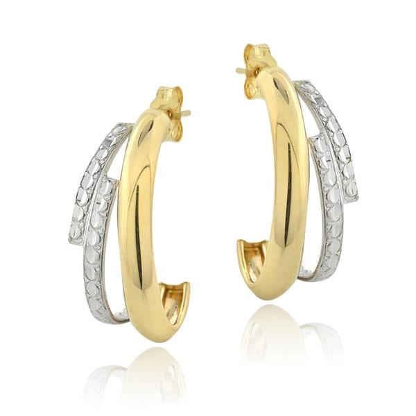 Mondevio 14k Two-tone Gold Half Hoop Earrings