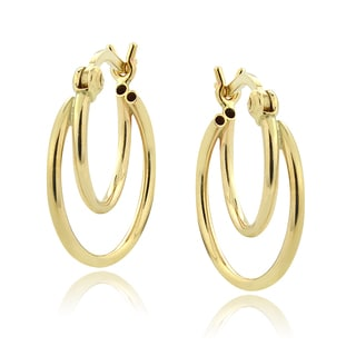 Mondevio 14k Yellow Gold Small Double Hoop Earrings
