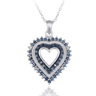 DB Designs Sterling Silver 1/2ct TDW Blue Diamond Heart Necklace
