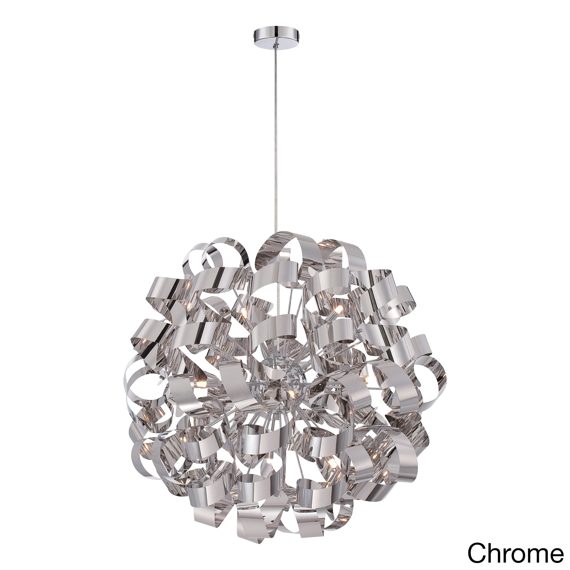 Quoize 12-light Ribbon Curled Steel Large Pendant