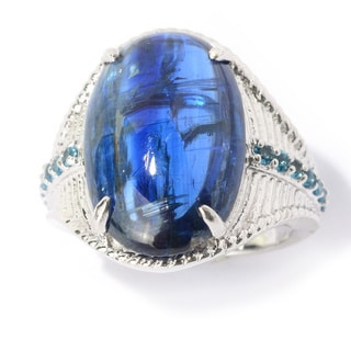 Sterling Silver Kyanite and London Blue Topaz Ring