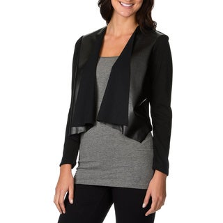 Lennie for Nina Leonard Women's Black Faux Leather Open Shrug