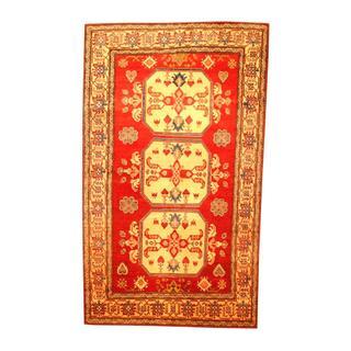 Herat Oriental Afghan Hand-knotted Tribal Kazak Red/ Beige Wool Rug (5'10 x 9'11)