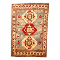 Herat Oriental Afghan Hand-knotted Tribal Kazak Light Blue/ Ivory Wool Rug (6'4 x 9'5)