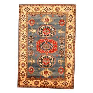 Herat Oriental Afghan Hand-knotted Tribal Kazak Blue/ Ivory Wool Rug (6'5 x 9'7)