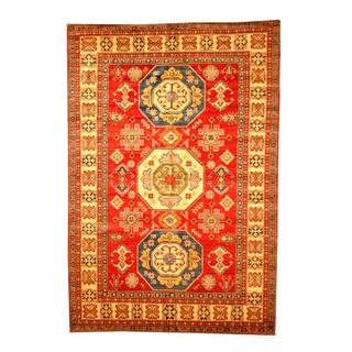 Herat Oriental Afghan Hand-knotted Tribal Kazak Red/ Tan Wool Rug (6'6 x 9'6)