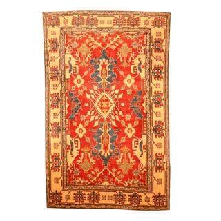 Herat Oriental Afghan Hand-knotted Tribal Kazak Red/ Beige Wool Rug (5'7 x 8'11)