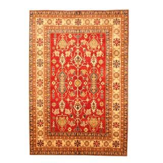 Herat Oriental Afghan Hand-knotted Tribal Kazak Red/ Tan Wool Rug (5'11 x 8'8)