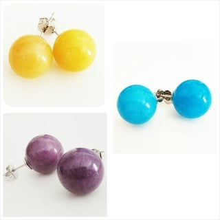 Pretty Little Style Silvertone Jade Stone Colorful Earrings