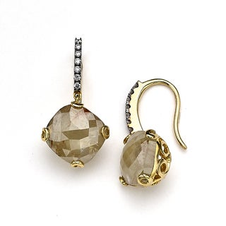 Diamonds for a Cure 18k Yellow Gold 9 1/10ct TDWe Yellow and White Rough Diamond Drop Earrings (H-I, SI1-SI2)