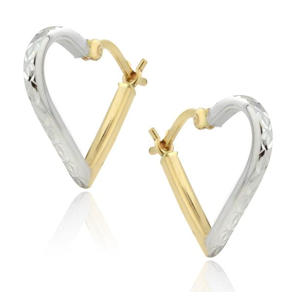 Mondevio 14k Two-tone Gold Heart Hoop Earrings