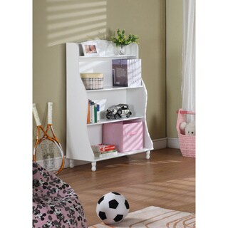White Finished 3-tiered Tall Bookcase