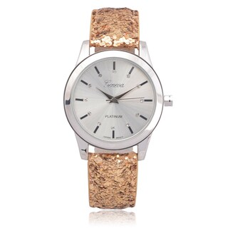 Geneva Platinum Women's Faux Leather Rhinestone Glitter Watch