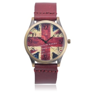 Geneva Platinum Faux Leather Graphic Print Quartz Watch