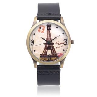 Geneva Platinum Women's Faux Leather Graphic Print Quartz Watch