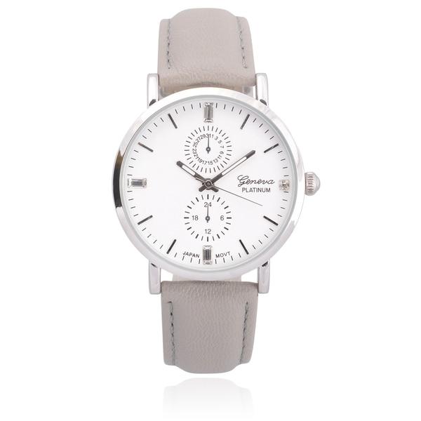 bd5f11e549e Shop Geneva Platinum Faux Leather Chronograph Watch - Free Shipping ...