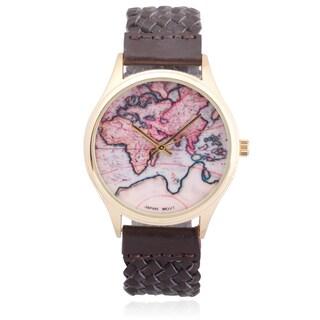 Geneva Platinum Faux Leather Braided Band Quartz Watch