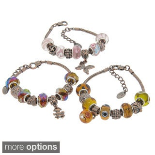 Eternally Haute Copper Collection Murano Style Glass Charm Bracelets
