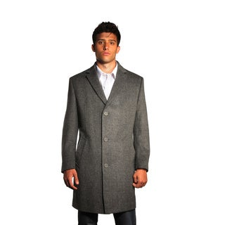 Jean Paul Germain Men's 'Jeffrey' Grey Herringbone Tweed Overcoat