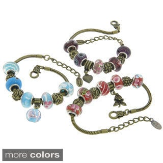 Eternally Haute Brass Collection of Murano Style Glass Charm Bracelets