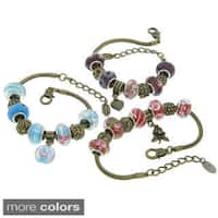 Eternally Haute Brass Collection of Glass Charm Bracelets