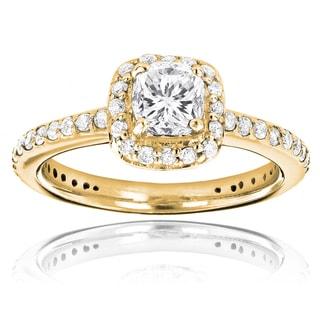 Luxurman 14k White Gold 1 1/5ct TDW Cushion-cut White Diamond Engagement Ring (H-I, SI1-SI2)