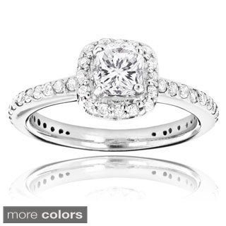 Luxurman 14k White Gold 1 1/5ct TDW Cushion and Round White Diamond Engagement Ring
