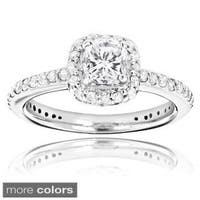 Luxurman 14k White Gold 1 1/5ct TDW Cushion and Round White Diamond Engagement Ring