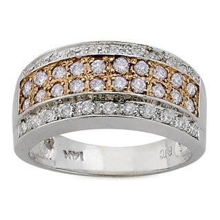 DFAC 14k White Gold 5/8ct TDW White and Pink Diamond Ring (H-I, SI1-SI2)