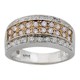 Neda Behnam 14k White Gold 5/8ct TDW White and Pink Diamond Ring