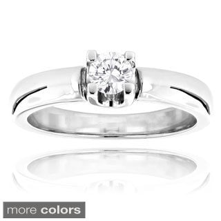 Luxurman 14k White Gold 1/5ct TDW Solitaire Diamond Engagement Ring