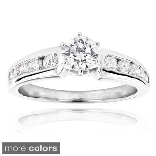 Luxurman 14k White Gold 1 1/10ct TDW Diamond Engagement Ring (H-I, SI1-SI2)