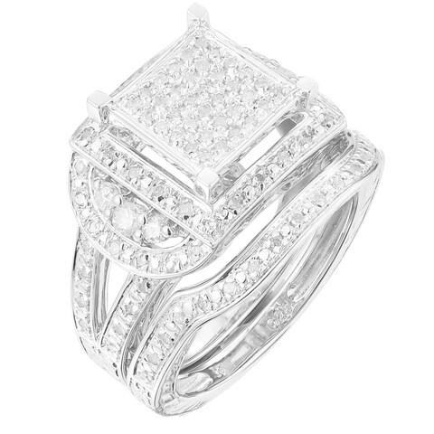 Sterling Silver 1/2ct TDW Diamond Anniversary Ring Set