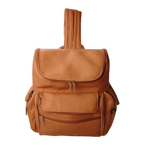 David King Leather 353 Multi Pocket Backpack Tan