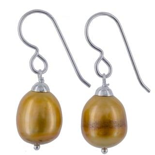 Ashanti Sterling Silver Golden Freshwater Pearl Handmade Earrings (Sri Lanka)