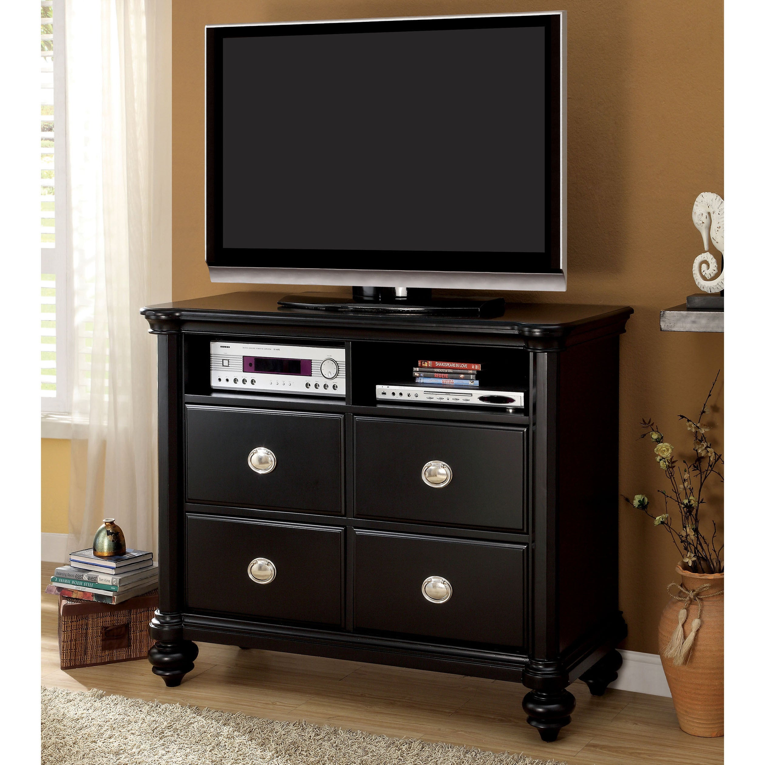 Furniture of America Selinea Modern Black Media Chest (Bl...